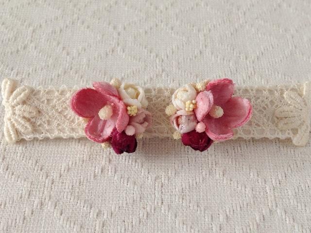 染め花の小花と蕾のピアスA(ピンク)