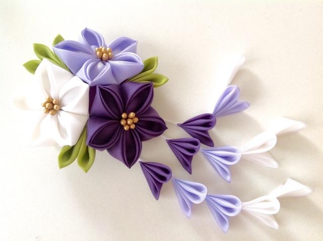 三色紫の三輪桔梗ヘアクリップ
