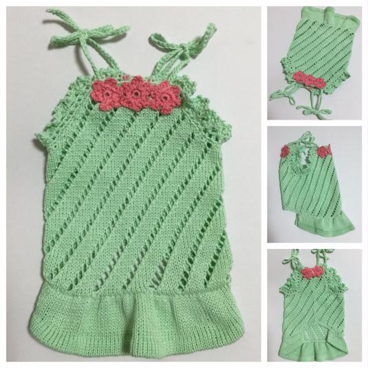 #手編み お花モチーフ付きワンピース