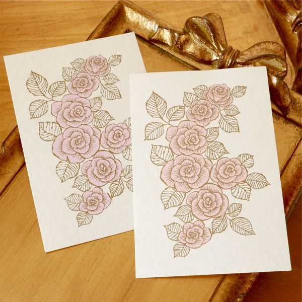 �ɤȤäƤ����Υݥ��ȥ����ɡ� ��SILKSCREEN PRINTED POST CARD 2PC SET -ROSE-