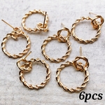 【knz3796chmm】【6pcs】double ring parts ピアスタイプ