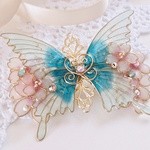 B(6cm金具)桜とハピネスグリーンの蝶バレッタ(hair ornaments of Cherry Blossom and 「happiness green butterfly」)