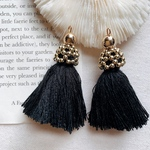 2pcs)Black)gold cap tassel#3g