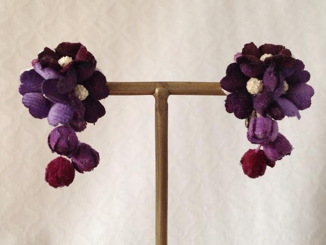 染め花の小花と蕾のイヤリングB(パープル)