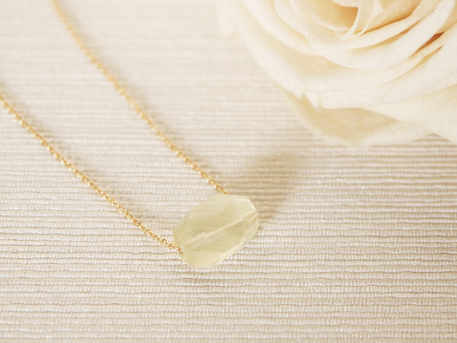 14KGF Pastel Stone Necklace (Lemon Quartz) 【20%OFF】