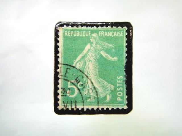 フランス 1906年「種をまく人」切手ブローチ 073