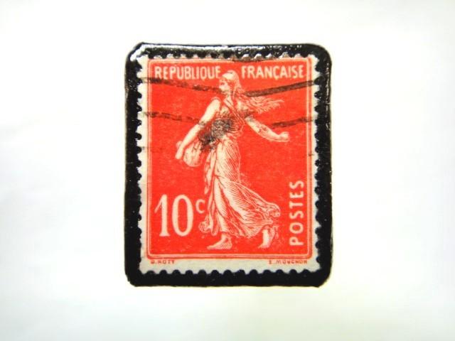 フランス 1906年「種をまく人」切手ブローチ 074