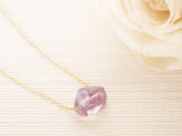 14KGF Pastel Stone Necklace (Amethyst) ��20��OFF��