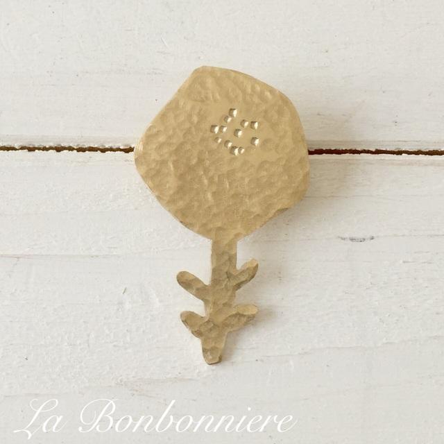 真鍮ブローチ  お花 (五角形)