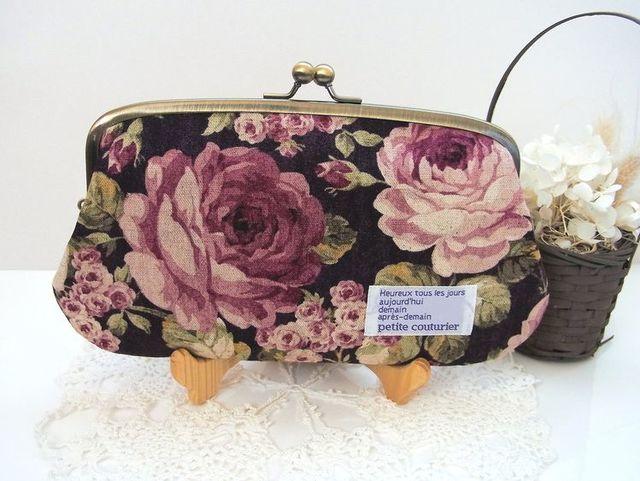 再販*大きな薔薇の親子がま口長財布(ワイン色)