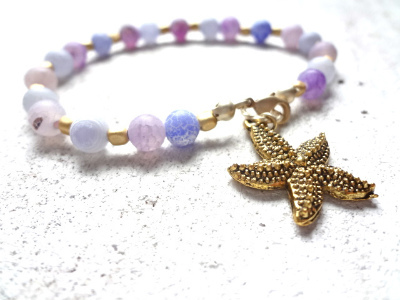 Purple and Blue dragon agate bracelet