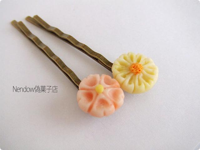 練り切りのヘアピン(桜・菊)