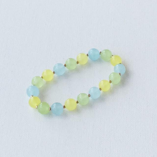 Round bead bracelet Blue カルセドニーのゴムブレスレット