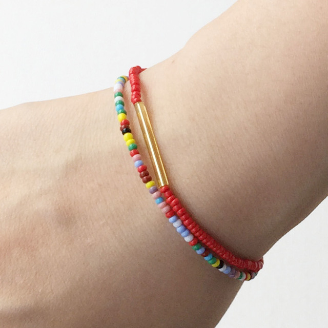 Narrow bracelet  Multi-color ビーズのマルチカラー華奢ブレス