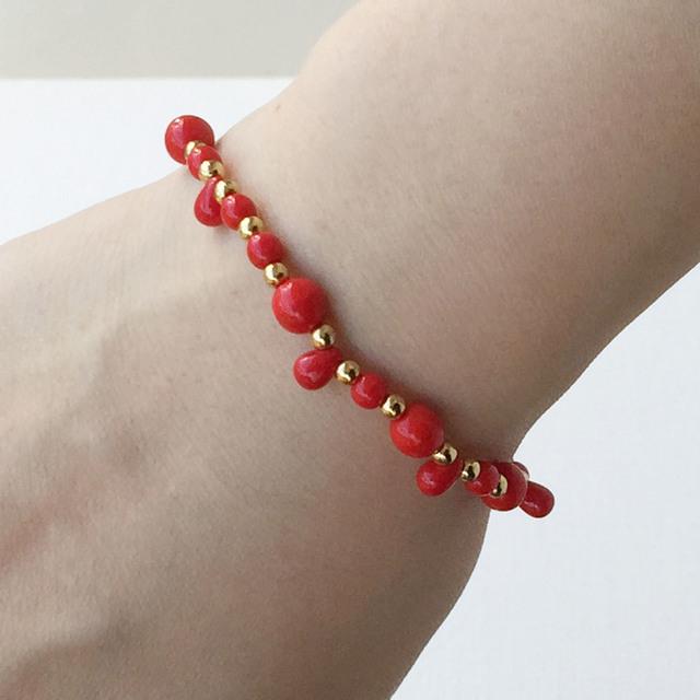 赤い石の華奢ブレス Red stone bracelet
