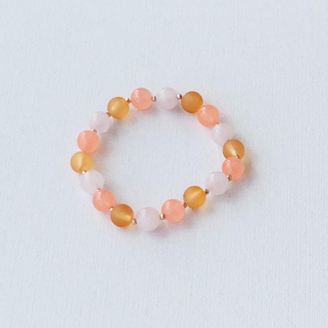 Round bead bracelet Orange オレンジのゴムブレスレット