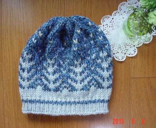 ☆彡北欧柄編み込み白夜の森ニット帽