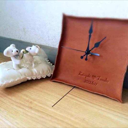 【ご依頼品】革のmemorial 掛け時計