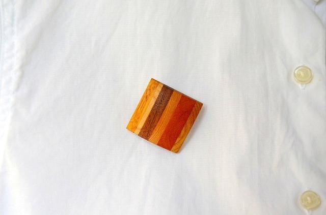 木のブローチ(ハイブリッド縞)Square