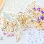 (8cm金具)約束の花束と蝶バレッタ(hair ornaments of Spring flower and butterfly 〜little promise〜) .