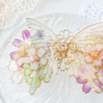 A(6cm金具)約束の花束と蝶バレッタ(hair ornaments of Spring flower and butterfly 〜little promise〜).