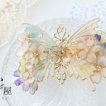 B(6cm金具)約束の花束と蝶バレッタ(hair ornaments of Spring flower and butterfly 〜little promise〜).