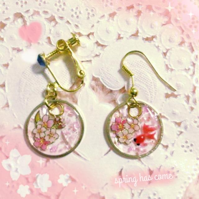 桜✕金魚*和風*ゆらゆらピアス*イメージアクセサリー