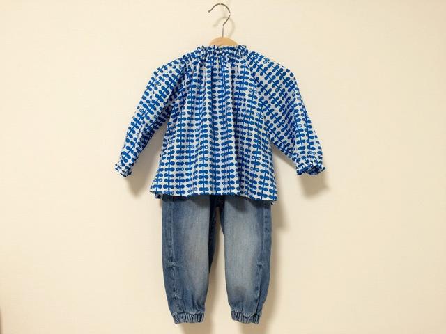 葉っぱ柄ブルースモック長袖 サイズ90