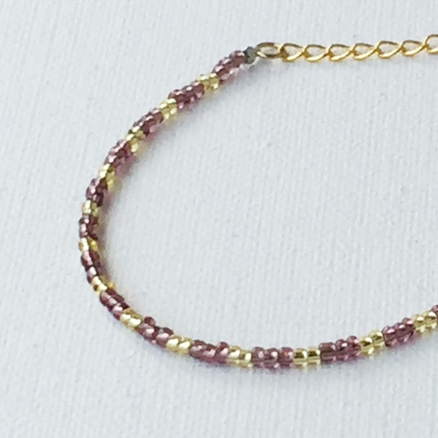 Narrow bracelet Gold&Purple ビーズの華奢ブレス