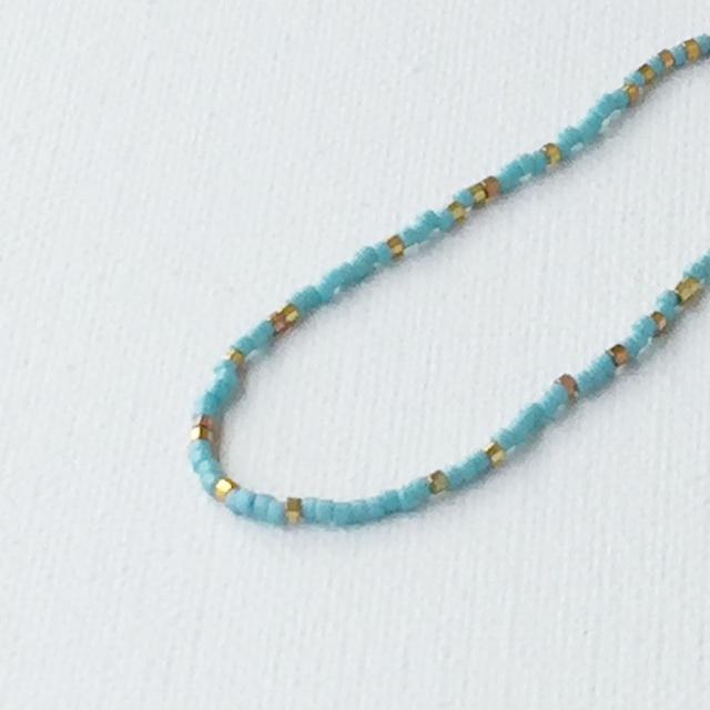 【再販】Narrow bracelet Light blue and gold ビーズの華奢ブレス ゴールド
