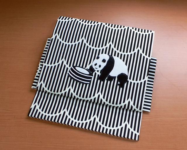 【sold out】ヒメノルミ&オーサカキモノコラボ作り帯 『パンダコパンダ』タイヤ帯