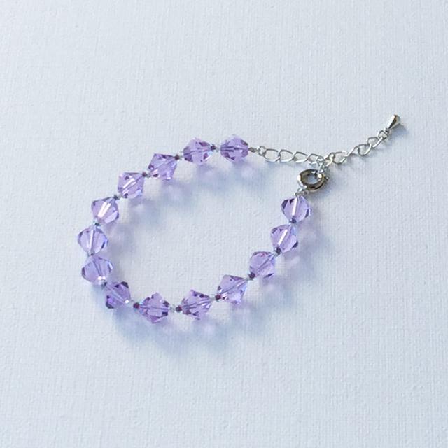 Sparkling glass bracelet  Blue カットガラスのキラキラブレスレット