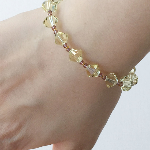 Sparkling glass bracelet ��Yellow�����åȥ��饹�Υ��饭��֥쥹��å�