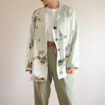 すずめ柄Pastel Green KimonoのUnisex Jacket (no.421)