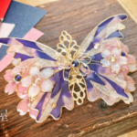 (6cm金具)夜桜とステンドグラスの蝶バレッタ(hair ornaments of Stained glass butterfly &night at cherryblossom)