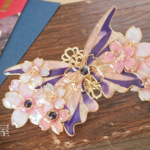 (8cm金具)夜桜とステンドグラスの蝶バレッタ(hair ornaments of Stained glass butterfly &night at cherryblossom)