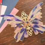 夜桜ステンドグラスの蝶バレッタ(hair ornaments of Stained glass butterfly 〜night at cherryblossom〜)