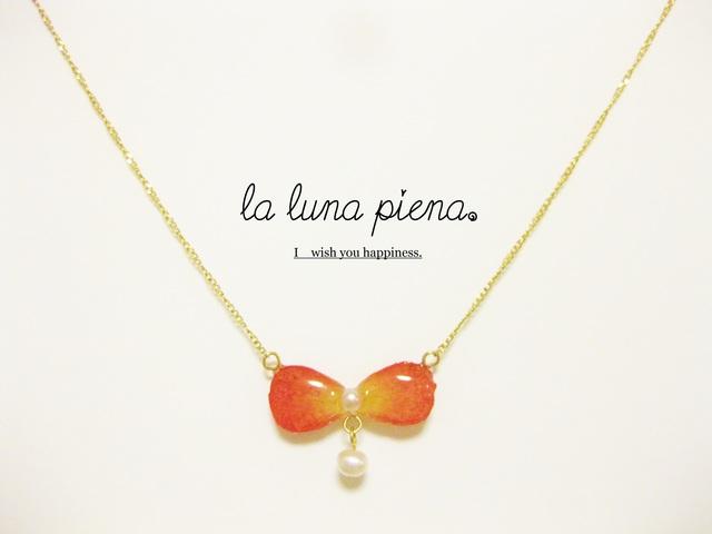 ◇K14GF◇ 花びらリボンと真珠のネックレス