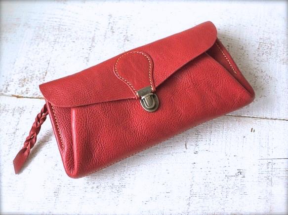【受注製作(納期約1ヶ月)】長財布 「series-envelope」ローズ