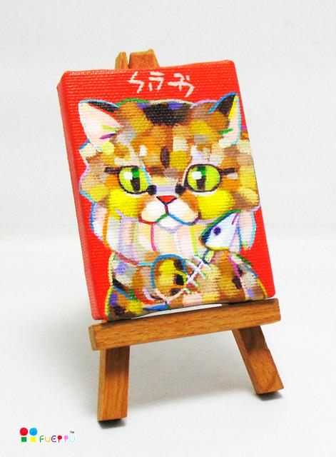 ミニキャンバス原画/野良猫ファミーユ