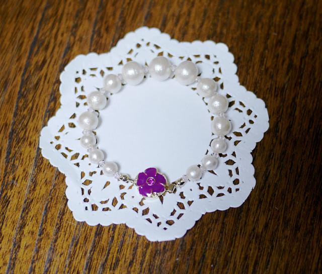 SALE★コットンパールブレスレット【Purple flower】