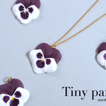 Tiny pansy ネックレス~white×purple~