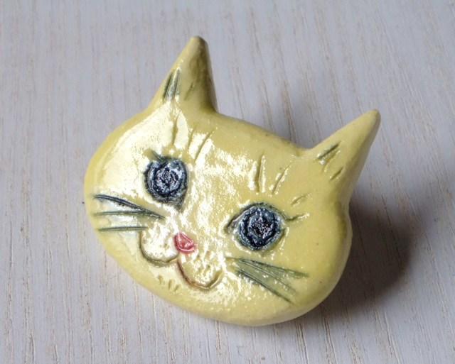 ネコネコ陶ブローチ-レモン