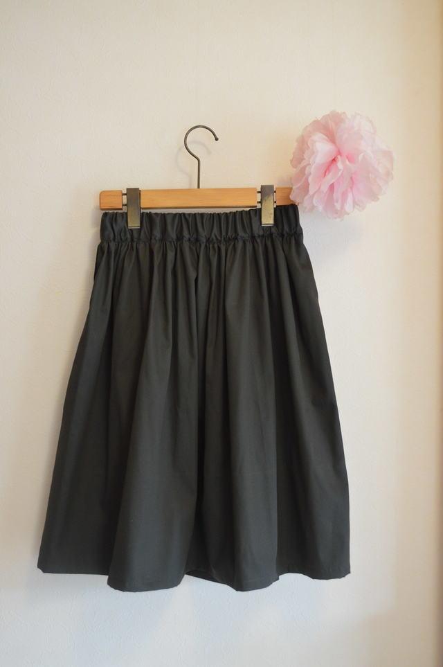 秋冬 ミリタリーカラーのシンプルギャザースカート