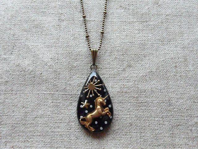 ユニコーン pendant (紺ドット)/受注制作