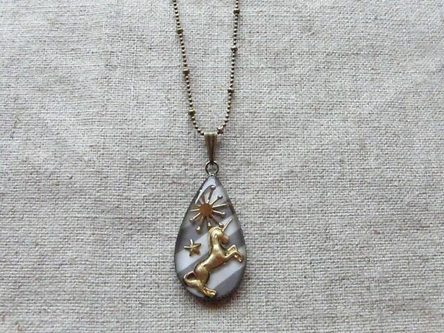 ユニコーン pendant (グレーストライプ)/受注制作
