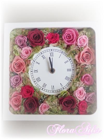 お花タップリの花時計白正方形#ローズピンク系【オーダー可】ラッピング有り