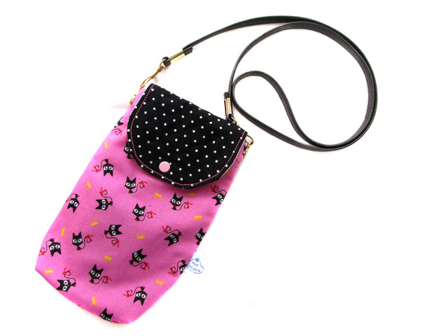 ポシェット風バネポ★黒ドット濃いピンクのネコ
