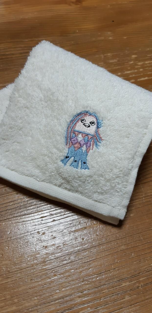 アマビエ刺繍 ハンカチタオル 2枚