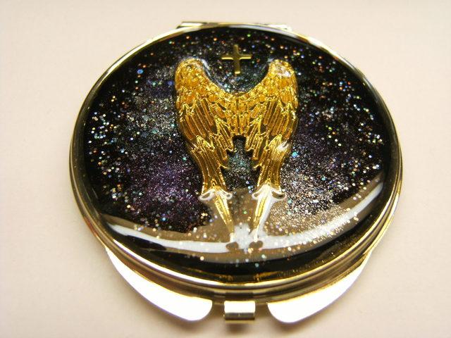 翼 コンパクトミラー(丸型ゴールド)